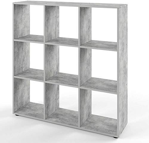 Vicco Bücherregal Nove 9 Fächer Raumteiler Standregal Aktenregal Aufbewahrung Regal (Beton)