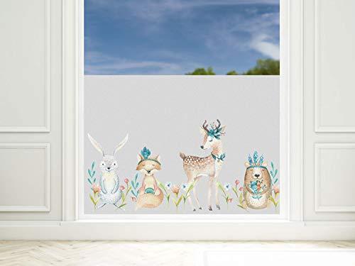 GRAZDesign Sichtschutzfolie Kinderzimmer Mädchen Waldtiere Fensterfolie Blickdicht, Milchglasfolie, 57cm hoch / 80x57cm
