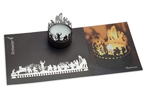 13gramm Orchester Windlicht Schattenspiel Geschenk, 3D Edelstahl Aufsatz für Kerze inkl. Karte