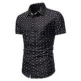 Camisa para hombre con estampado floral de manga corta, estilo informal, tallas grandes, corte ajustado. Negro L