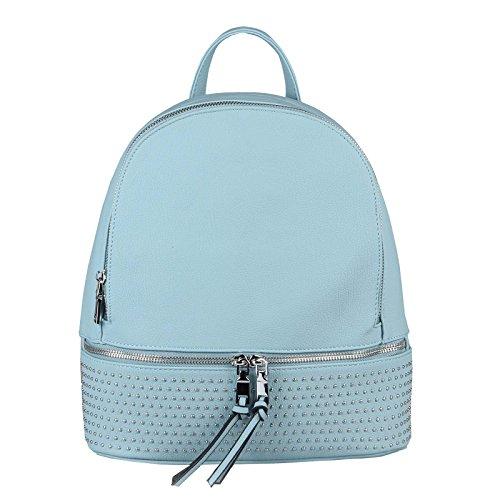 OBC Damen MÄDCHEN Nieten Rucksack Backpack Strasssteine Glitzer Cityrucksack Stadtrucksack Schultertasche Handtasche (Blau 29x28x12 cm)