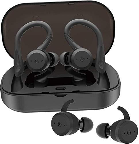Auriculares inalámbricos Bluetooth 5.0 con Ganchos Dobles para Deporte IPX7 Auriculares Impermeables en la Oreja 15H Tiempo de reproducción Sonido estéreo 3D Auriculares inalámbricos Verdaderos