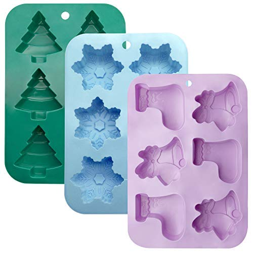 3 Pack Silicone Molds, Colovis DIY Handmade Soap Chocolate Fudge Mold Trays Baking Pans for Candy Cake Biscuit Winter Theme Snowflake Tree and Bell