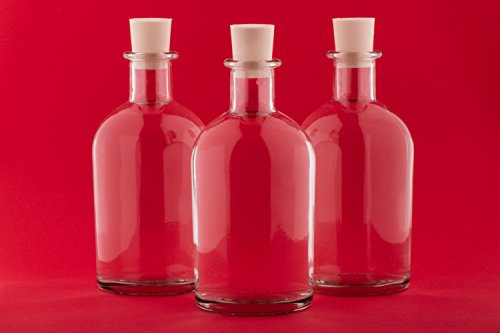 Slkfactory, set da 12o 24bottiglie di vetro 'NEW-BOST', da 250ml, bottiglie vuote da riempire, per liquore, acquavite, aceto, olio, succo, con tappi di chiusura, Vetro, 12 x 250 ml