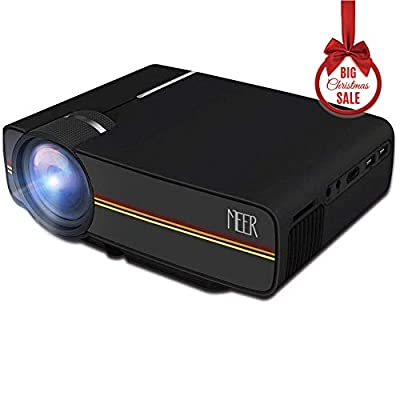 Meer Portable Mini Pico Full Color LED LCD Projector for Children's Gift, Video TV Movie, Party Game, Outdoor Entertainment with HDMI USB AV Interfaces and Remote Control