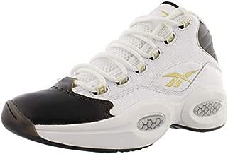 Reebok Question Mid Mens Shoes Size 8, Color: White/Black/Gold Metallic