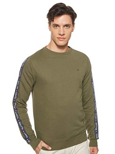 Tommy Hilfiger Uomo Felpa con Tracolla, Verde, XL