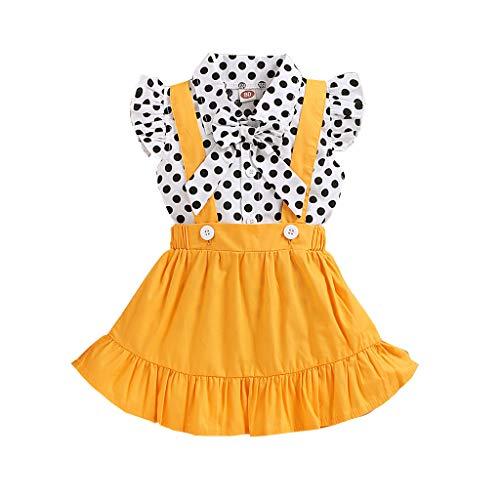LEXUPE Kleinkind Baby Mädchen Rüschen Fly Sleeve Dot Print Tops + Strapsröcke Outfits(A-Gelb,90)