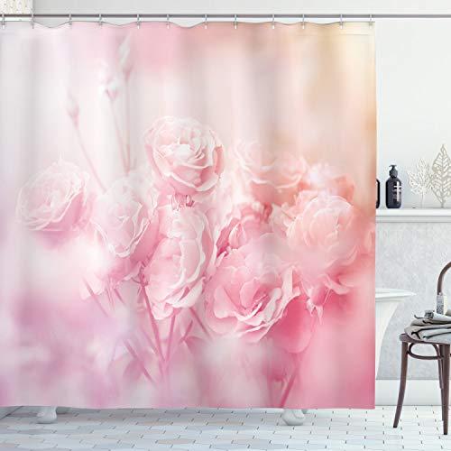 ABAKUHAUS Rose Duschvorhang, Dreamy Frühling Natur-Ansicht, Leicht zu pflegener Stoff mit 12 Haken Wasserdicht Farbfest Bakterie Resistent, 175 x 180 cm, Hellrosa