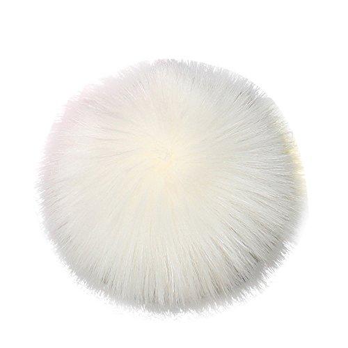 DIY Faux-Fox-Pelz-Flaumiger Pompom-Ball FüR Strickende Hut-HüTe Mit Elastischer Schnur Das Stricken Der Hut-HüTe, 10Cm (4