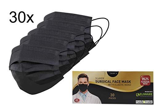 30er Spenderbox 3-lagige Einweg Mund- Nasen- OP-Masken - Mit Nasenbügel - Frei von Fiberglas