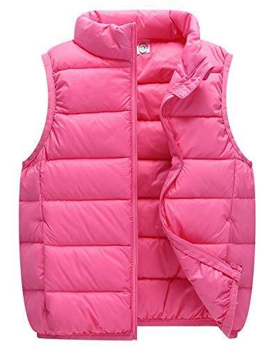 Kinder Daunenweste Mädchen Jungen Ultraleicht Stehkragen Steppweste Vest Ärmellos Down Jacket Rosa 130cm
