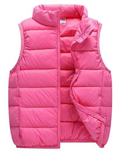 Chaleco Inviernos Niños Niñas Invierno Ultraligero Sin Mangas Chaquetas Infantil Collar del Soporte Chalecos Pink 140cm