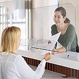 アクリル板 透明 くしゃみガード、オフィスや店舗のくしゃみや咳に対する360度調整可能なトランザクションウィンドウを備えた保護アクリルシールド,50cm*80cm
