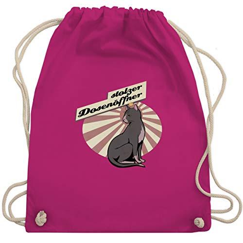 Shirtracer Katzen - Stolzer Dosenöffner Katze - Unisize - Fuchsia - schwarze katze - WM110 - Turnbeutel und Stoffbeutel aus Baumwolle