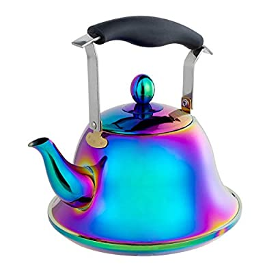 Whistling Tea Kettle Stainless Steel, Rainbow Teapot with Infusers for Loose tea, 2-Liter Teakettle for Stovetop Induction Stove Top, Fast Boiling Heat Water Tea Pot 2-Quart