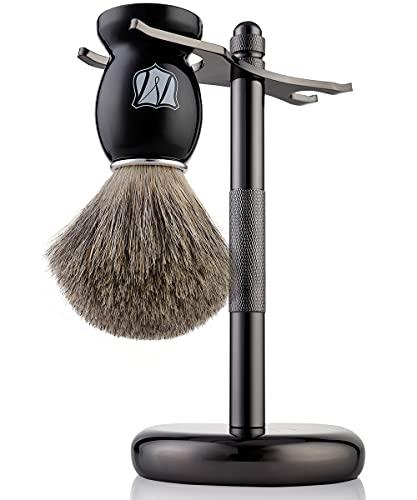 Miusco Natural Badger Hair Shaving Brush and Shaving Stand Set, Dark Chrome, Black, Compatible with Safety Razor, Cartridge Razor and Disposable Razor