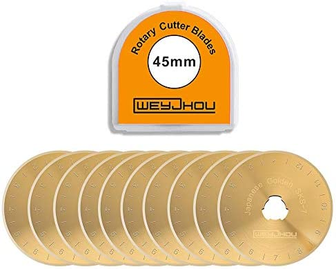 Titanium Golden Rotary Cutter Blades 45mm 10 Pack Fits OLFA DAFA Truecut Replacement Quilting product image