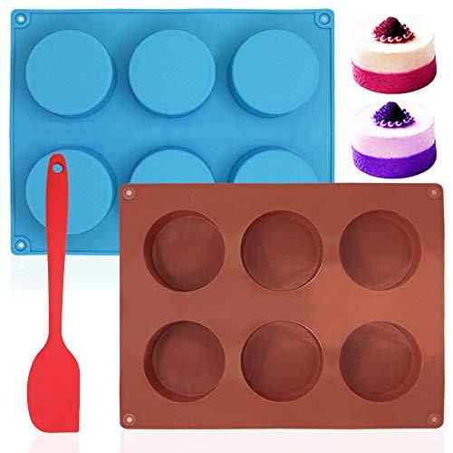 Stampo cilindrico rotondo a 6 cavità da 2 pezzi, teglie da forno antiaderenti Sonku con spatola in silicone per torta, caramelle, muffin, biscotti, budino al brownie, gelatina, rosso, blu