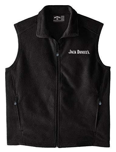 Jack Daniels Men's Daniel's Fleece Zip-Up Logo Vest Black Large