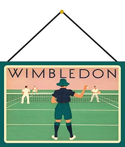 Generisch Targa in Metallo 20 x 30 cm bombata con Cordoncino Wimbledon Tennis Reklame Retro Decorazione Regalo Segno Nostalgia