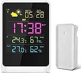 XTZJ Estación meteorológica Inalámbrica Interior al aire libre, 12h Previsión meteorológica, Calibrador de monitor de humedad de temperatura con reloj de clima, Pantalla grande de color HD, Retroilumi