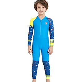 DIVE & SAIL Kids One Piece Long/Short Sleeve Swimsuit Sun Protection...