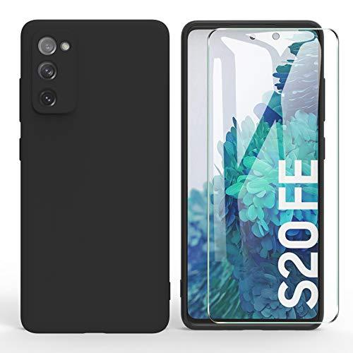 ARRYNN Funda Samsung Galaxy S20 FE 5G con Cristal Templado Protector de Pantalla,Negro Ultra Slim Protectora Funda de Silicona Líquida Suave Case Cover para Samsung Galaxy S20 FE 5G - Negro