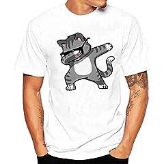 Camiseta de Manga Corta Blanca para Hombres Gato Bailando Shirt