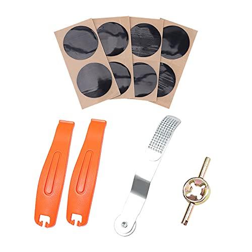 SunniMix Kit de reparación de punción de neumáticos de Bicicleta, Kit de reparación de Ruedas de Ciclismo, Juego Fijo para Todos los Tubos Interiores inflables - Fichero de Parche de Palanca