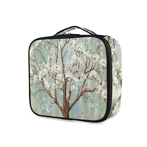 SUGARHE Aquarell Plum Blossom Tree White Flowering Plant Theme,Kosmetik Reise Kulturbeutel...