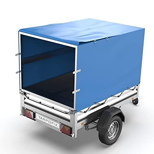 Tarpofix® Anhänger Hochplane 210x115x110 cm inkl. Planenseil - randverstärkte & robuste Stema Anhänger Plane - Langlebige Anhänger Abdeckplane - Ideale Anhängerplane für viele 750 kg PKW Autoanhänger