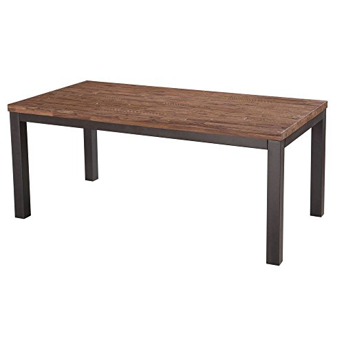 Modus Furniture Gabe Solid Wood Rectangular Dining Table Gray Steel, Rustic Truffle