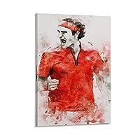 テニス選手ロジャーフェデラーポスター装飾絵画リビングルーム壁画モダンキャンバスプリント絵画室装飾画像16×24インチ(40×60cm)
