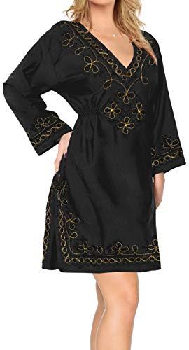 LA LEELA Kaftan Desgaste Ocasional recargas de Cobertura de Verano Maciza Natural rayón Kimono para Las Mujeres del Traje de baño