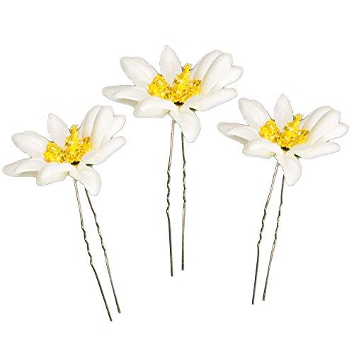 Alpenflüstern Trachten-Haarnadeln Edelweiß-Blüten 3er-Set Creme-weiß ADV109