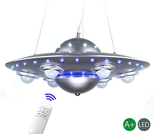 XBSLJ Ventilador de Techo, Iluminación Colgante Lámpara de Techo Lámpara Colgante Colgante OVNI Pantalla Sala de Estar Chica Joven Lámpara Lámpara de Comedor Dormitorio Azul-Plata