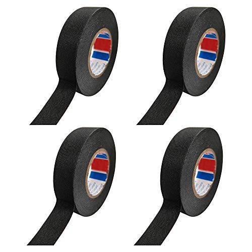 4 Rollen Isolierband Schwarz Gewebeband 15m x 15mm- Gewebeband für Reparatur von gespleißten Drähten,Drahtbündeln,isolierband schwarzes klebeband(Schwarz)