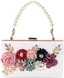 TOOGOO Luxury Dinner Party Bag Three-Dimensional Pearl Flower Tote/Small Square Bag/Clutch Pink