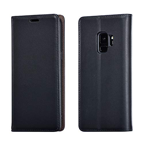 UEEBAI Lederhülle für Samsung Galaxy S9 Plus, Retro Hochwertig Handmade Echtleder Hülle RFID Schutz Weich Klapphülle mit Kartenfache Standfunktion Magnetverschluss Flip Hülle Handytasche - Schwarz