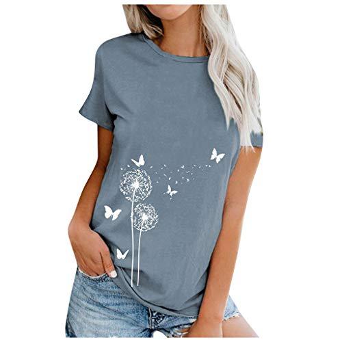 Lulupi Damen Baumwolle T-Shirt Blumen Rundhals Kurzarm Tops Sommer Bluse Lässiges Bedrucktes Tshirt Lose Longshirt Locker Lang Shirt (Blau,2XL)