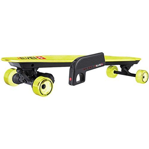Helvei Motorisiertes Smartmove Longboard Skateboard mit Aufladbarem Akku, Dual Motoren 1800W und Fernbedienung - Schwarz/Gelb