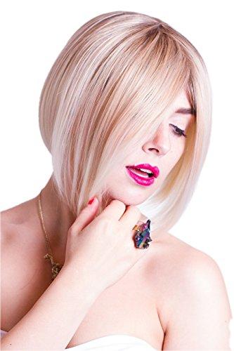 Prettyland Perruque Courte 30cm Blond très Clair Mèches Coiffure Lisse Plongeant Raie au Milieu Travesti C533
