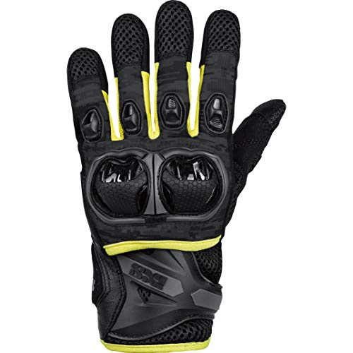IXS Motorradhandschuhe kurz Motorrad Handschuh Montevideo Air S LT Handschuh schwarz/grau/gelb XL, Herren, Tourer, Ganzjährig, Leder