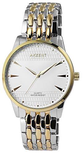 Akzent - Reloj de pulsera analógico para hombre, color blanco, plata, oro rosa, cuarzo y metal