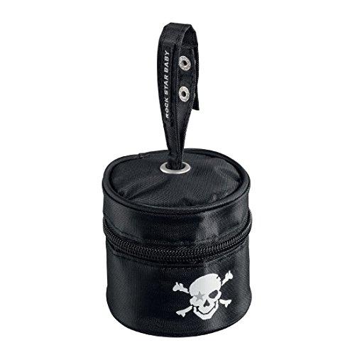 Rock Star de Baby–Chupete de bolsa higiénica para guardar Con práctica asa. Elegante Chupete Box negro
