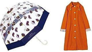 【セット買い】ワールドパーティー(Wpc.) 雨傘 ビニール傘 ネイビー 65cm plantica×Wpc.フラワーアンブレラプラスティック PLV-001 NV+レインコート ポンチョ レインウェア オレンジ FREE レディース 収納袋付き R-1106 OR