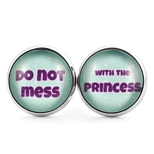 SCHMUCKZUCKER Damen Ohrstecker Spruch Do not mess with the princess Edelstahl Ohrringe Silber Mint Violett 14mm