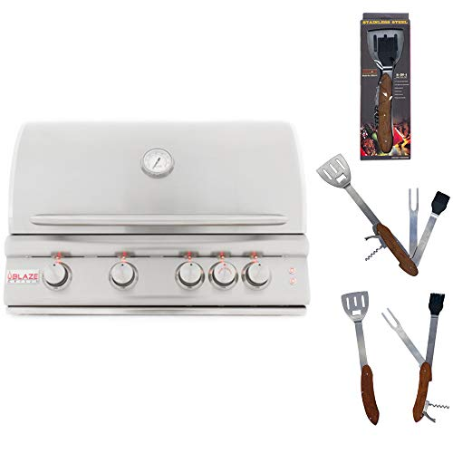 Blaze 32-Inch 4 Burner Natural Gas Grill with Rear Burner and Built-in Lighting System BLZ-4LTE with Best of Backyard 5 in 1 BBQ Tool Set