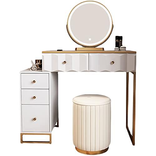 Lzcaure Tocador con espejo de almacenamiento de maquillaje de madera de cajones de tocador mesa de maquillaje mesa de maquillaje